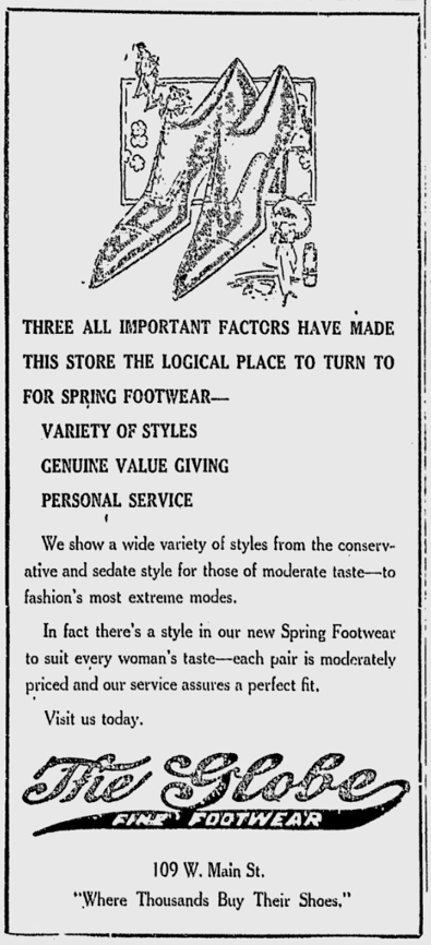 Advertisement for Globe Shoe Store, 1920. Reprinted from the Spartanburg Herald-Journal, March 9, 1920